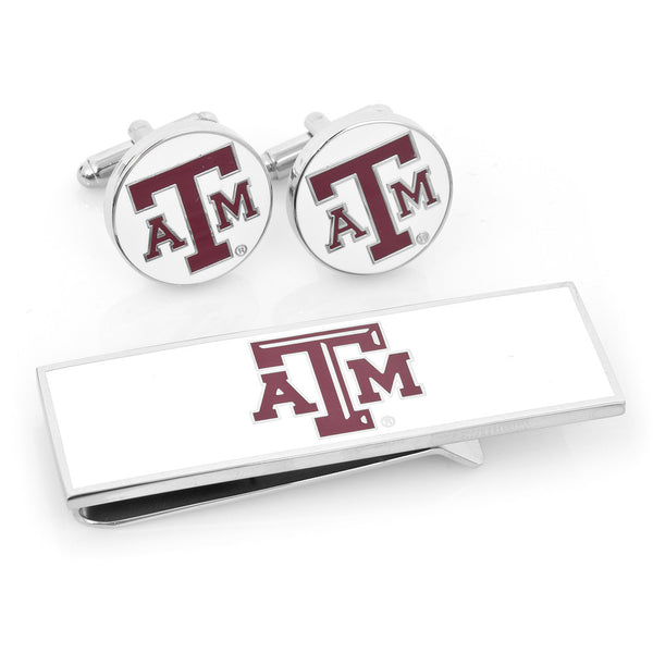 Texas A&M Aggies Cufflinks and Money Clip Gift Set-Mens 3 Piece Gift Set-Here Comes The Bling™