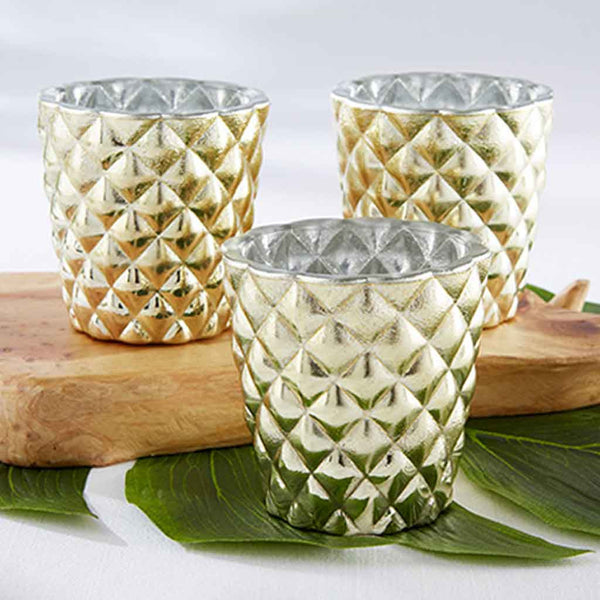 Textured Gold Votive Holder (Set of 4)-Favors-Candle Holders-Here Comes The Bling™