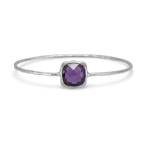 Textured Purple Cubic Zirconia Bangle Bracelet-Bracelets-Here Comes The Bling™