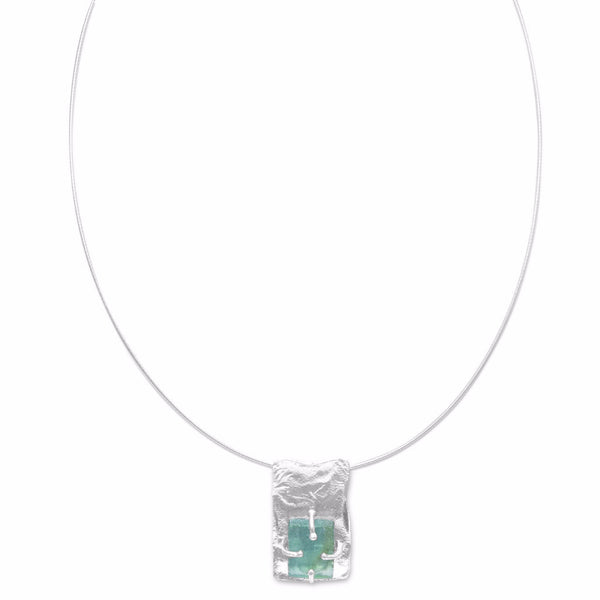 Textured Rectangle with Ancient Roman Glass Necklace-Necklaces-Here Comes The Bling™
