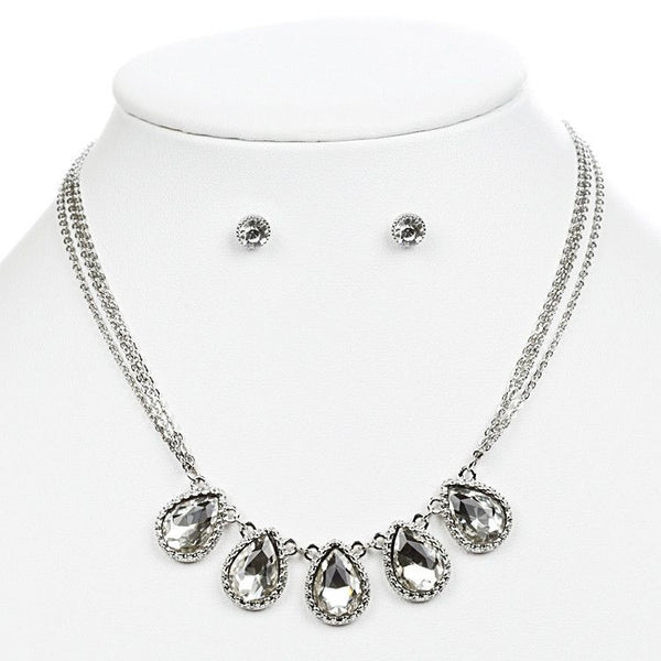 Textured Silver Frame Teardrops Necklace Set-Sets-Here Comes The Bling™