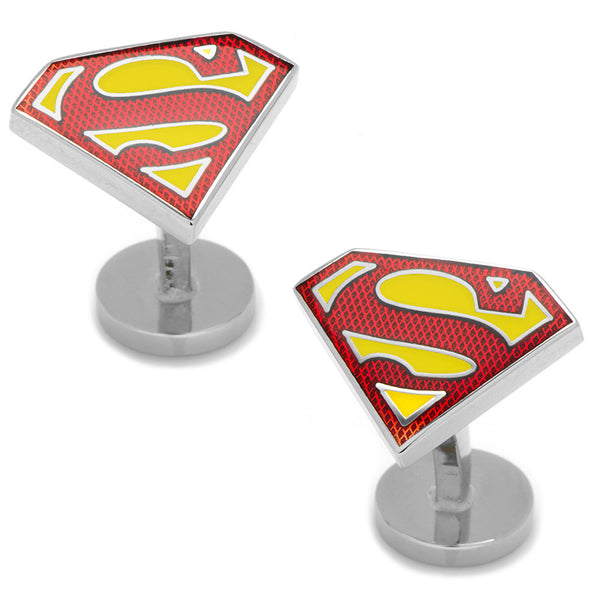 Textured Transparent Enamel Superman Shield Cufflinks-Cufflinks-Here Comes The Bling™