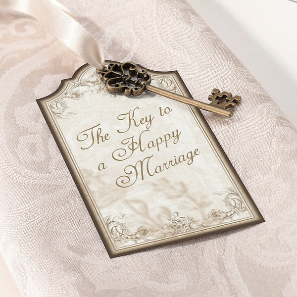 """The key to a happy marriage"" Gold Tags (sold in sets of 24)-Favors-Tags-Here Comes The Bling™"
