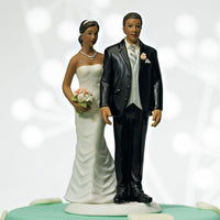 """The Love Pinch"" Ethnic Couple Cake Topper ( Select From 7 Hair Colors )-Cake Toppers-Here Comes The Bling™"