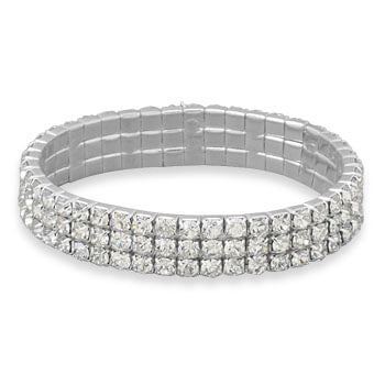 Three Row Silver Crystal Stretch Bracelet-Bracelets-Here Comes The Bling™