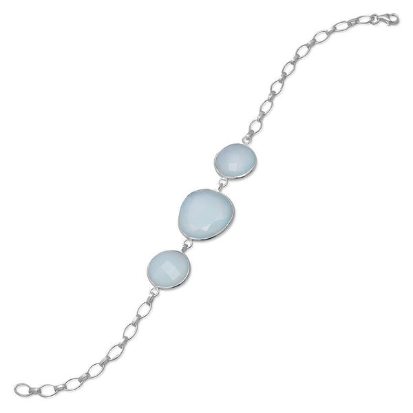 Three Stone Sea Green Chalcedony Bracelet-Bracelets-Here Comes The Bling™