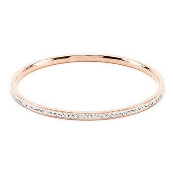 Timeless Rose Gold Crystal Bangle Bracelet-Bracelets-Here Comes The Bling