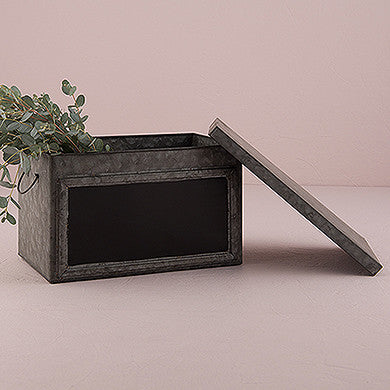 Tin Box with Aged Finish & Blackboard Panel Display Large-Decor-Boxes-Here Comes The Bling™