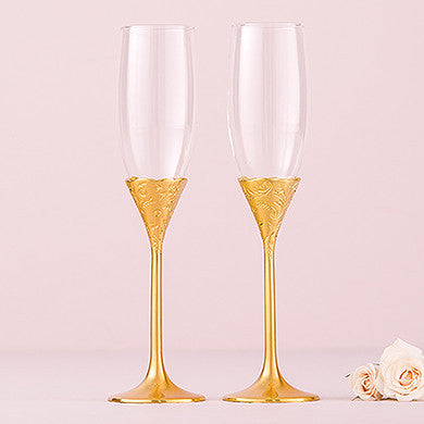 Toasting Flutes - Classic Gold Romance