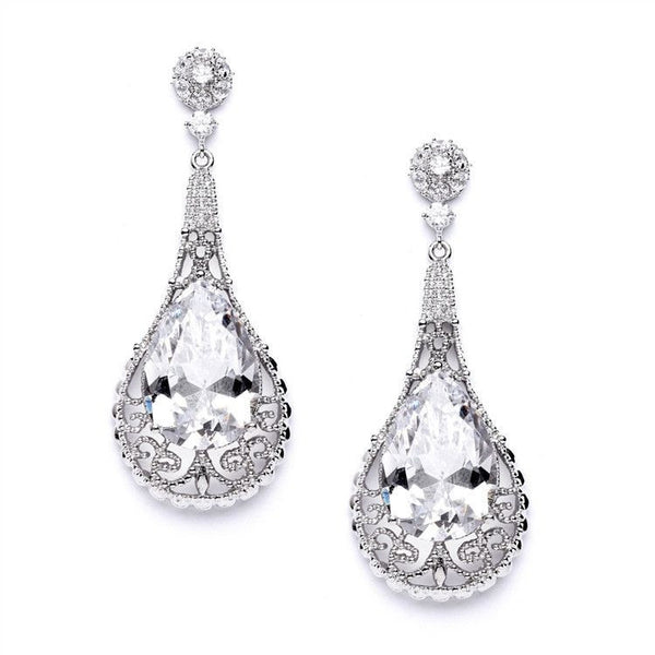 Top-Selling Bold Cubic Zirconia Pear shape Wedding Earrings-Earrings-Here Comes The Bling™