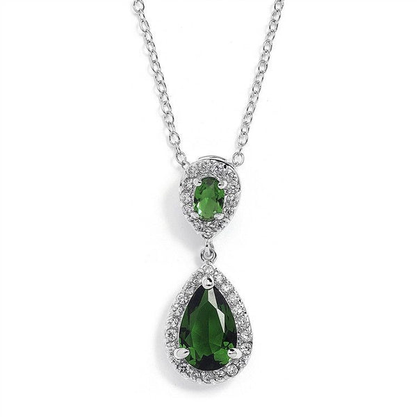 Top-Selling Emerald Cubic Zirconia Teardrop Wedding or Bridesmaids Pendant-Necklaces-Here Comes The Bling™