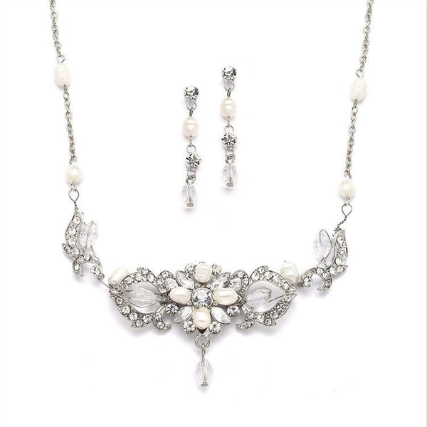 Top-Selling Freshwater Pearl & Crystal Wedding Necklace & Earrings Set-Sets-Here Comes The Bling™