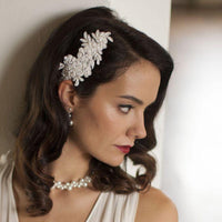 Top Selling Ivory Beaded Lace Applique Wedding Comb-Combs-Here Comes The Bling™