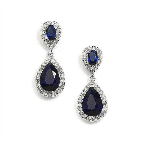 Top-Selling Sapphire Cubic Zirconia Teardrop Wedding or Bridesmaids Earrings-Earrings-Here Comes The Bling™