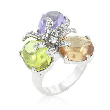 Triple Bead Floral Ring-Rings-Here Comes The Bling™