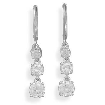 Triple CZ Drop Rhodium Earrings on Lever Backs-Earrings-Here Comes The Bling™