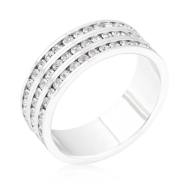 Triple Row Crystal Eternity Band-Rings-Here Comes The Bling™