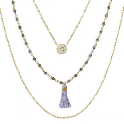 Triple Strand Gold and Labradorite Tassel Necklace-Necklaces-Here Comes The Bling™