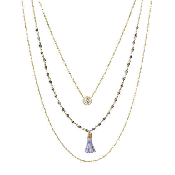 Triple Strand Gold Necklace with Tassle and CZ-Necklaces-Here Comes The Bling™