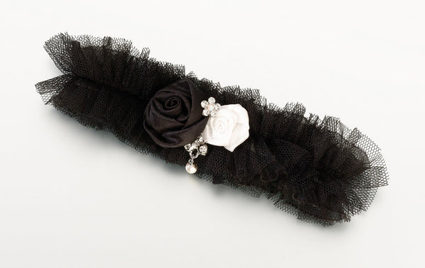 Tulle Garter w/Jewel-Black-Garters-Here Comes The Bling™