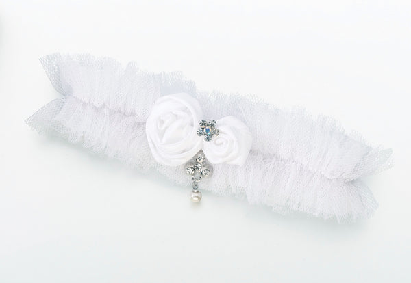 Tulle Garter w/Jewel-White-Garters-Here Comes The Bling™