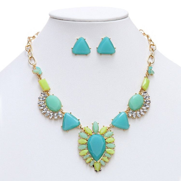 Turquoise-Green Multi Art Deco Statement Necklace-Sets-Here Comes The Bling™