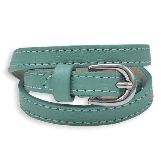 Turquoise Leather Wrap Bracelet with Buckle-Bracelets-Here Comes The Bling™