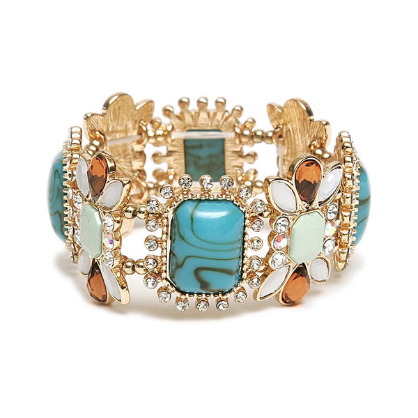 Turquoise & Tortoise Pastel Stretch Bracelet-Bracelets-Here Comes The Bling™