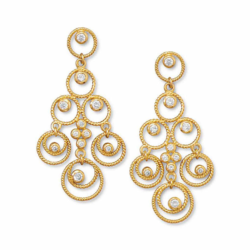Twisted Gold Circle CZ Chandelier Earrings