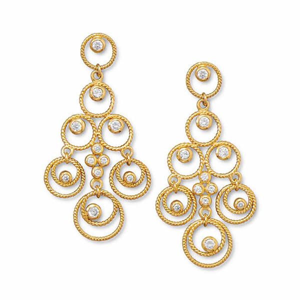 Twisted Gold Circle CZ Chandelier Earrings-Earrings-Here Comes The Bling™