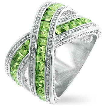 Twisting Green Band-Rings-Here Comes The Bling™