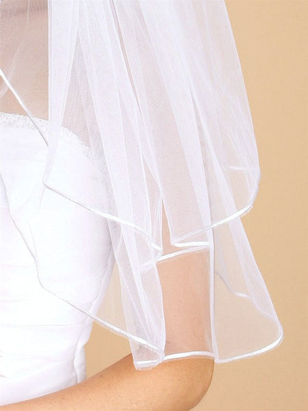 Two Layer Wedding Veils with Rounded Satin Cord Edge-Veils-Here Comes The Bling™