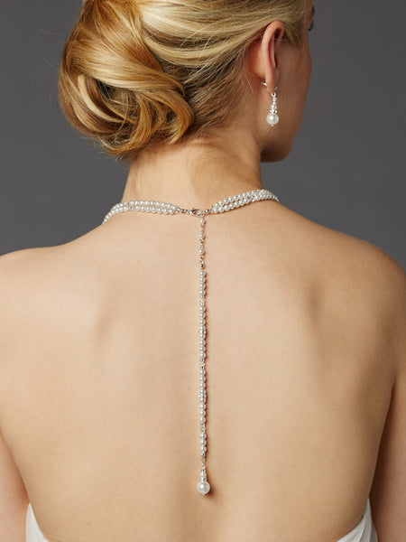 Two-Row Glass Pearl Back Necklace with Dramatic Backdrop-Back Necklace-Here Comes The Bling™