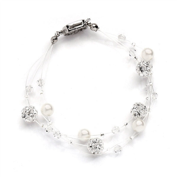 Two Row Pearl and Rhinestone Fireball Bracelet-Bracelets-Here Comes The Bling™