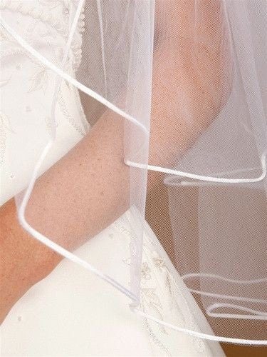 Two-Tier Circular Cut Satin Corded Edge Bridal Veils-Veils-Here Comes The Bling™