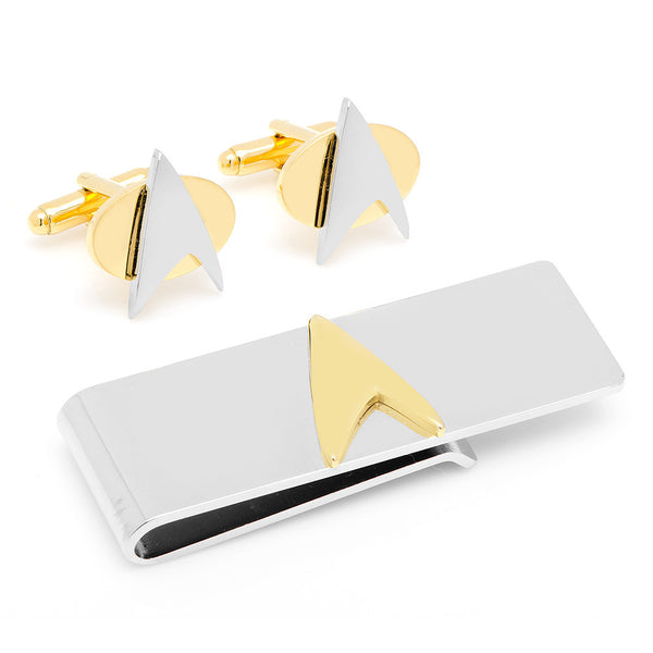 Two-Tone Delta Shield Cufflinks and Money Clip Gift Set-Mens 3 Piece Gift Set-Here Comes The Bling™