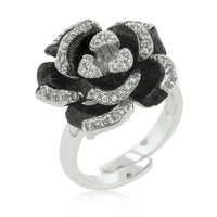 Two-tone Finish Floral Ring with Textured Pedals-Rings-Here Comes The Bling™