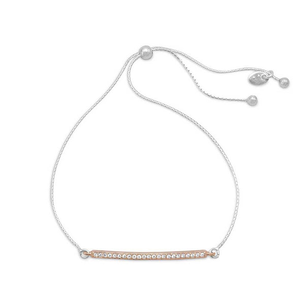Two Tone Silver and Rose Gold CZ Slide Bar-Bracelet-Bracelets-Here Comes The Bling™