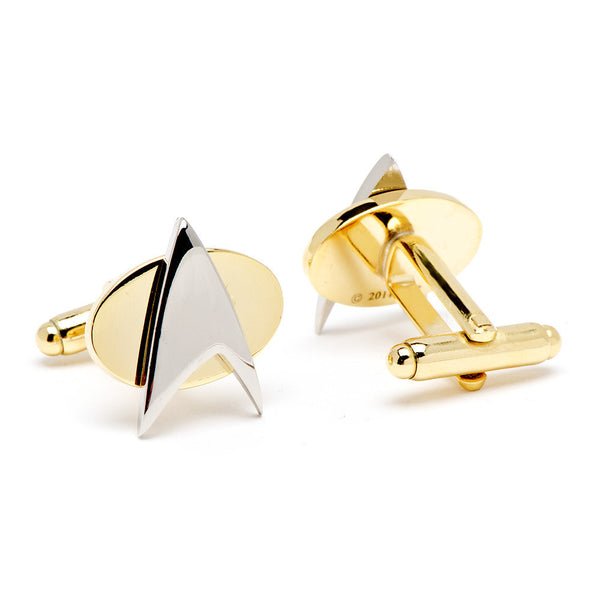 Two Tone Star Trek Delta Shield Cufflinks-Cufflinks-Here Comes The Bling™