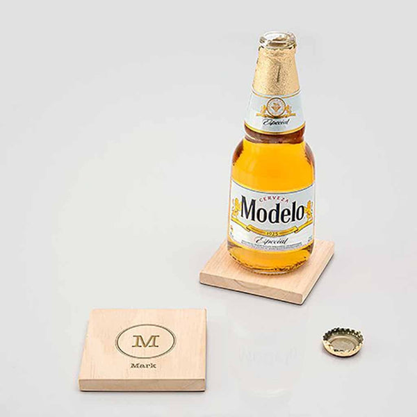"""Typewriter Monogram"" Natural Wood Coaster With Built-in Bottle Opener (Set of 4)-Coasters-Here Comes The Bling™"