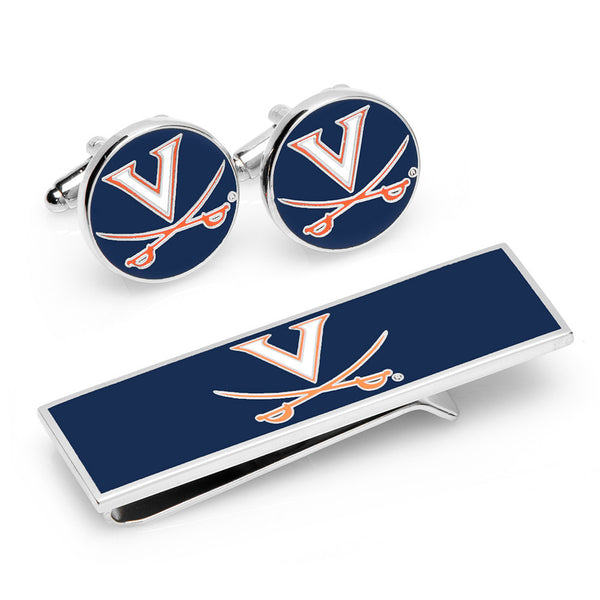 U of Virginia Cavaliers Cufflinks and Money Clip Gift Set-Mens 3 Piece Gift Set-Here Comes The Bling™