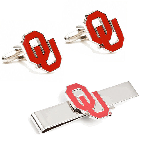 University of Oklahoma Cufflinks and Tie Bar Gift Set-Mens 3 Piece Gift Set-Here Comes The Bling™