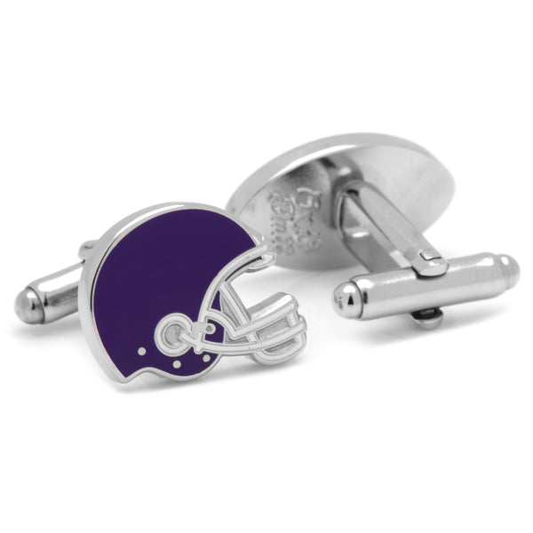 Varisty Football Purple and White Cufflinks-Cufflinks-Here Comes The Bling™