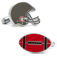 Varsity Football Black, Red, and White Cufflinks-Cufflinks-Here Comes The Bling™