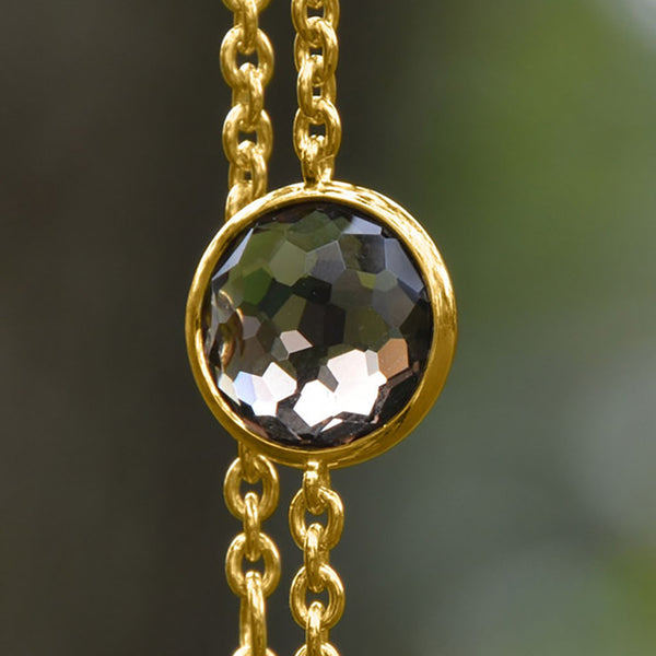 Vermeil Freeform Faceted Smoky Quartz Bracelet-Bracelets-Here Comes The Bling™
