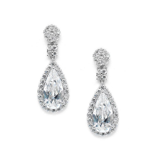Victorian Teardrop Cubic Zirconia Wedding or Prom Earrings-Earrings-Here Comes The Bling™