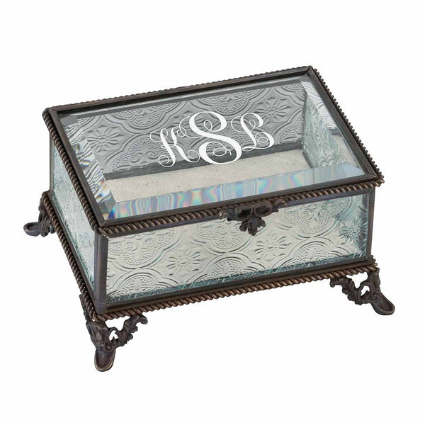 Vine Monogram Personalized Rustic Rectangular Glass Jewelry Box-Jewelry Box-Here Comes The Bling™