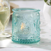 """Vintage"" Blue Glass Tealight Holder (Set of 4)-Favors-Candle Holders-Here Comes The Bling™"