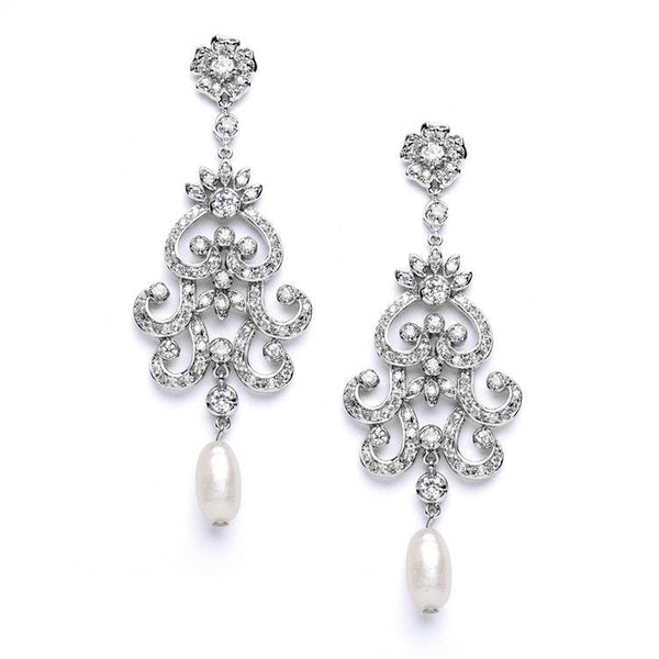 Vintage Chandelier Wedding or Bridal Earrings with Cubic Zirconia & Freshwater Pearls-Earrings-Here Comes The Bling™