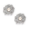 Vintage CZ and Pearl Flower Earrings-Earrings-Here Comes The Bling™